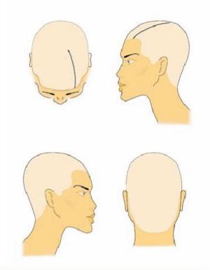 Схема колорирования волос «На пробор»
