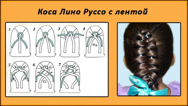 Коса Лино Руссо с лентой, схема плетения