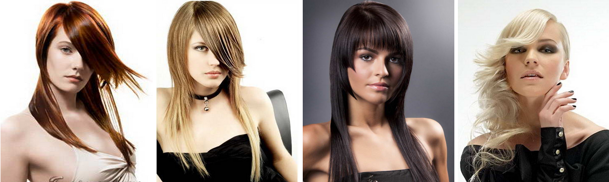 асимметричные стрижки на длинные волосы с челкой