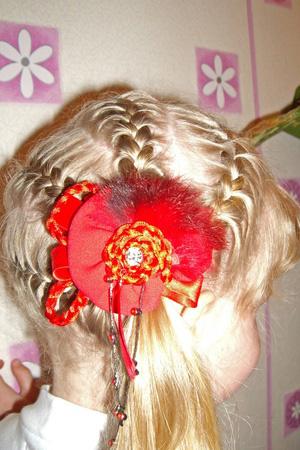 детская прическа Дракончик из четырех кос