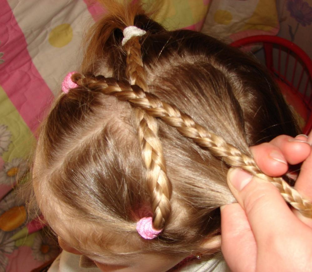детская прическа Перекрёстные косички