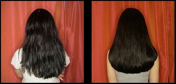 экранирование волос, фото до и после