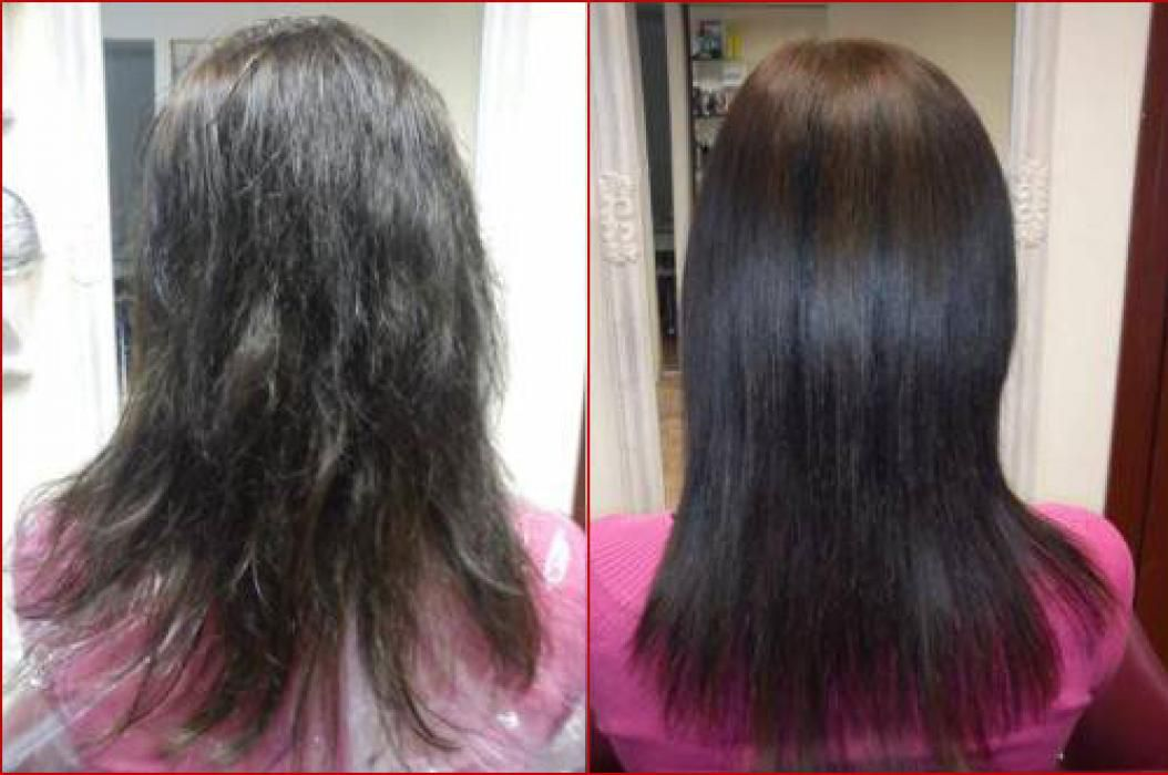 Химическое выпрямление волос, до и после