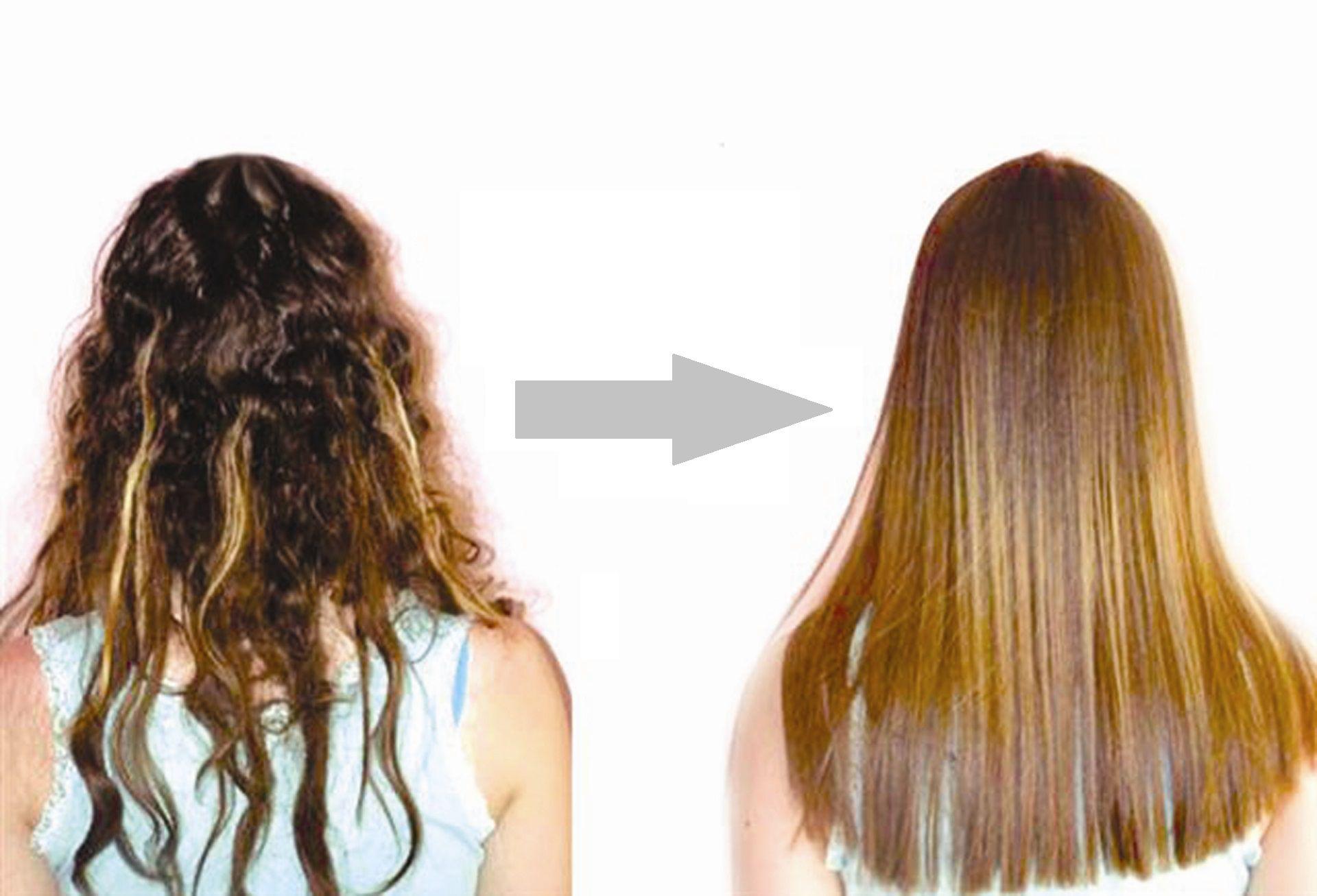 выпрямление волос, фото до и после