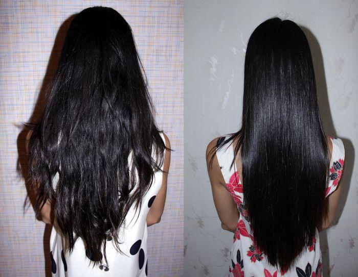 Выпрямление волос маслами, фото до и после