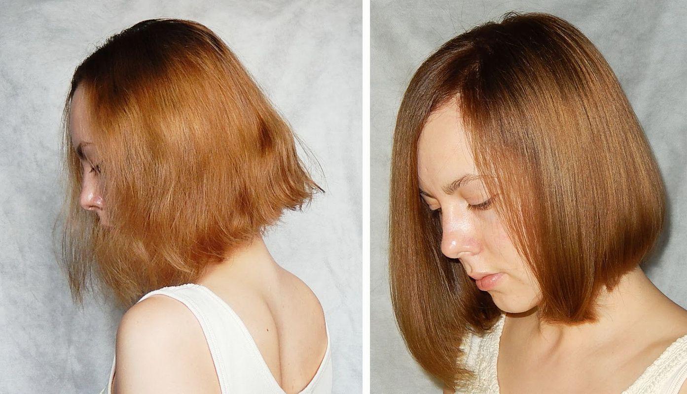 ламинирование волос, до и после