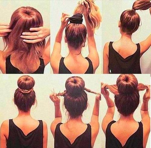 Пучок на средние волосы своими руками